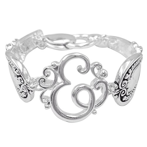 Spoon Handle Style Monogram Initial Silver Tone Magnetic Clasp Bracelet (Letter E)