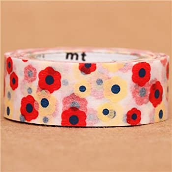 red and cream flower mt Washi Masking Tape deco tape