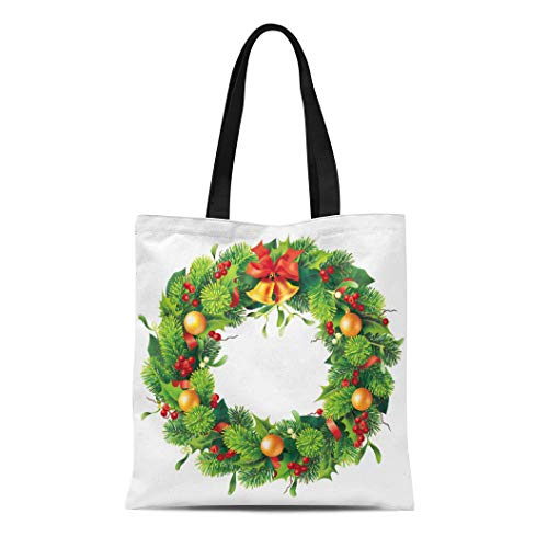 Semtomn Canvas Tote Bag Shoulder Bags Green Ring Christmas Round Wreath on White 10 Red Women's Handle Shoulder Tote Shopper Handbag