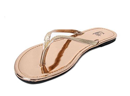Kali Footwear Women's Focus Glitter Flip Flops (10 B(M) US, Rose Gold) (Flops Rose Flip Women)