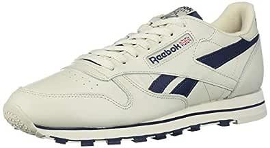 Reebok Men's Classic Leather Sneaker, Alabaster/Collegiate Navy, 3.5 M US