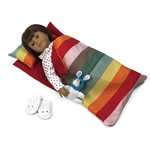 Doll Bedding Striped Pattern Reversible Sleepover Doll Bag for 18