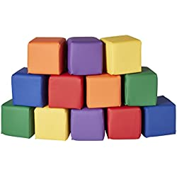 ECR4Kids SoftZone Patchwork Toddler Block Playset - Gentle Foam Blocks for Safe Active Play and Building, Primary Colors (12 Piece Set)