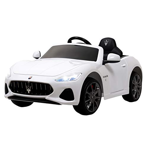 Uenjoy Maserati Grancabrio 12V Electric Kids Ride On Cars Motorized Vehicles W/Remote Control, Suspension, Mp3 Player, Light, White