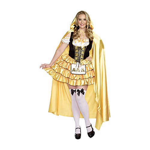 Halloween Fairytale Costumes (Dreamgirl Women's Plus-Size Goldilocks Fairytale Costume, Gold/Black, 1X/2X)