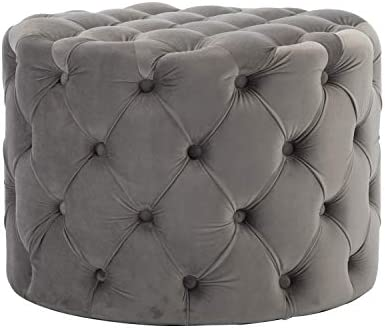 ZHENGHAO Large Hand Tufted Ottoman Height 17.7 Inches Sturdy Stool Upholstered Round Foot Rest Bench with Button for Living Room Bedroom Gray
