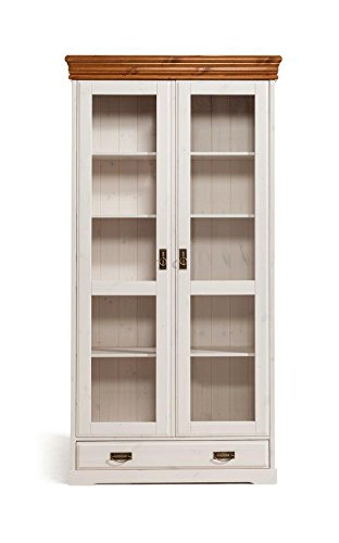 schrank vitrine 2 trg oslo kiefer massiv holz wei honig landhaus online bestellen. Black Bedroom Furniture Sets. Home Design Ideas
