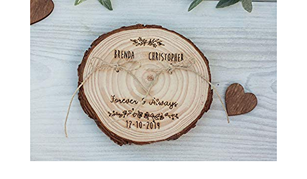 wedding decoration ring pillow alternative wood wedding decor Rustic ring bearer pillow wedding wood slice rustic ring box