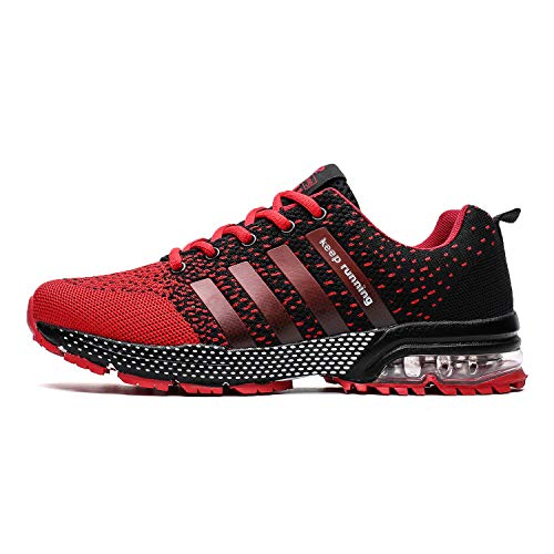 (TORISKY Men's Women's Tennis & Racquet Sport Shoes Trail Running Sneakers Air Shoe Lightweight Gym Jogging Walking Casual Sports Max Fitness Male Athletic Wear(8702-Red 45))