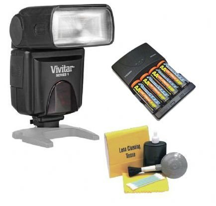 Nikon DL24-500 Bounce, Zoom & Swivel Head Flash + High Powered AC Rapid Charger With 4AA 2900 Mah Batteries + Nwv Direct 5 Piece Cleaning Kit