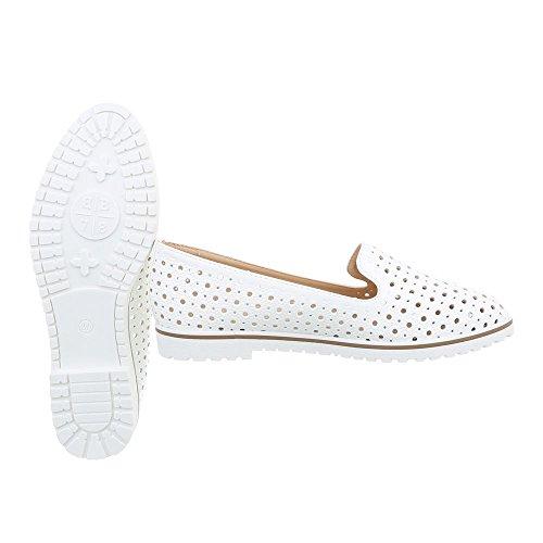 Ital-Design Women's Loafer Flats Block Heel Slippers at White J101d GzLOqDk