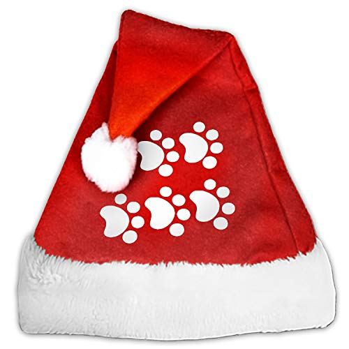 Santa Hat,Cat Paw Prints Unisex Velvet Fabric Christmas Hat with Comfort Lining&Plush Brim