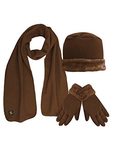 Light Brown Plush Fur Trim Fleece 3 Piece Hat Scarf & Glove Set