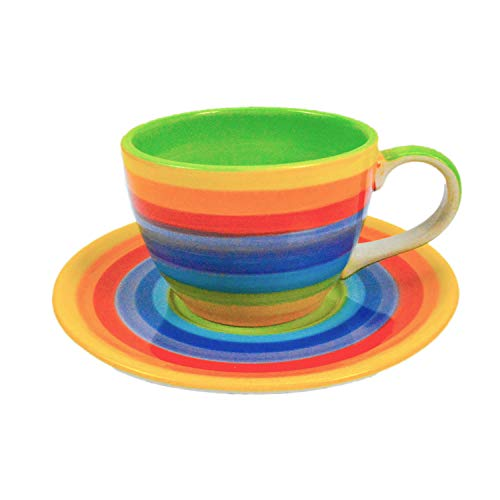 CinMin Rainbow Striped Multicolor Ceramic Stoneware Coffee Cup, Medium w/Saucer