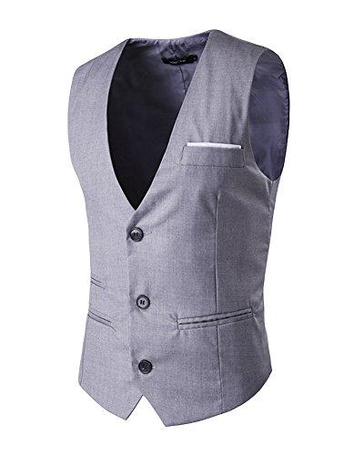 Gris Homme Loisirs Costume Slim Travail Vestes Coupe V Mariage Col D'affaires ZvEPOvx