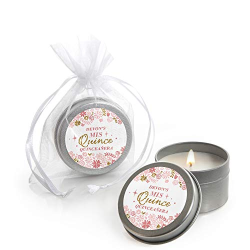 (Personalized Mis Quince Anos - Custom Candle Tin Quinceanera Sweet 15 Birthday Party Favors - Custom Text - Set of 12)