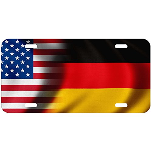 ExpressItBest High Grade Aluminum License Plate - Flag of Germany (German) - Waves/USA