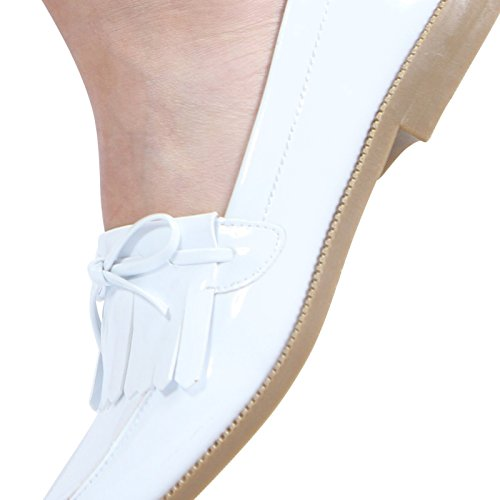 CORE COLLECTION Womens Ladies Fringe Tassel Low Heel Contrast Bow Work School Shoes Loafers Size 3-8 White Patent ZVs54P3