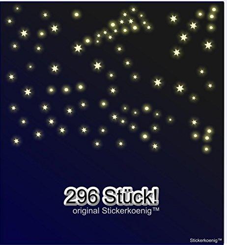 Stickerkoenig Kinderzimmer Wandtattoo 296 Stück Leuchtpunkte & Leuchtsterne Mix Sternenhimmel leuchten im Dunkeln