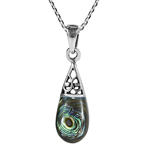 - AeraVida Filigree Swirl Teardrop Abalone Shell Inlay .925 Sterling Silver Pendant Necklace