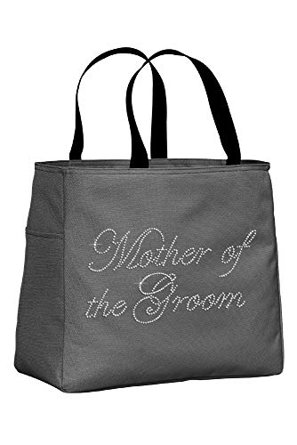 Zynotti Mother of the Groom Rhinestone Embellished Charcoal Gray Tote Bag for Wedding Shower, Bachelorette Party, or Wedding day