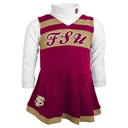 NCAA Florida State Seminoles Toddler Girls Cheer Jumper Dress w/Turtleneck Set, Burgundy, 4T