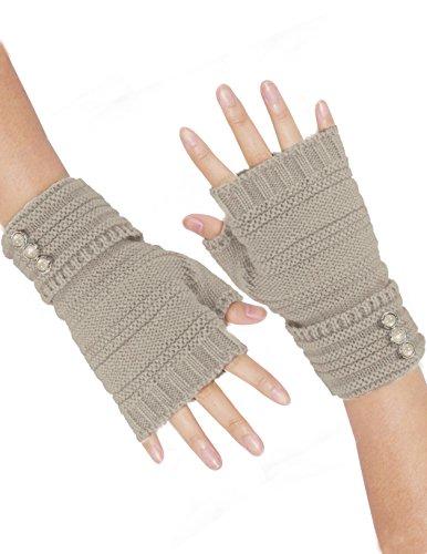 Dahlia Women's Triple Button Acrylic Knit Fingerless Gloves - Beige by Dahlia