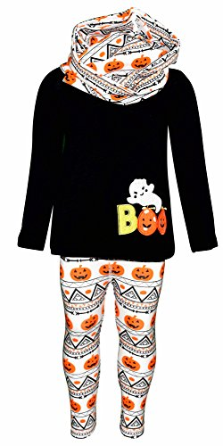 Halloween 3 Pumpkin (Unique Baby Girls 3 Piece Halloween Pumpkin Ghost Outfit (2t))