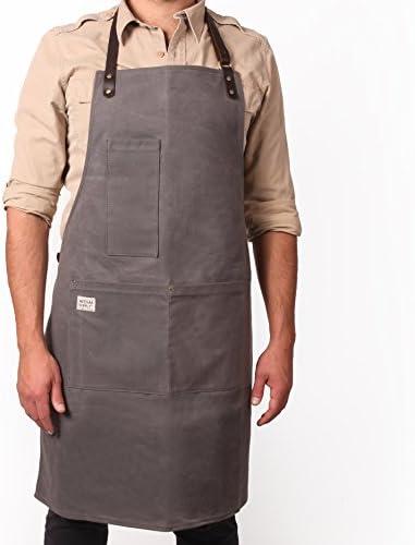 Artisan Supply Co. クラフトマンワックスキャンバスワークエプロン レザーストラップ付き - BBQグリルマスター、肉屋、パン屋、コーヒーメーカー、ロースター、マング、シェフ、機械工などに
