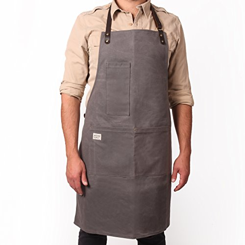 Vintage Inspired Craftsman Waxed Canvas Work Apron (LONG-GREY) by Artisan Supply Co. - Made for BBQ Grill Masters, Butchers, Bakers, Chefs, Machinist and More by Artisan Supply