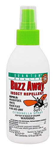 Quantum Buzz Away - Natural DEET-free Insect Repellent, Citronella Essential Oil Bug Spray, Original Formula - Small Children and Up, Travel Friendly - 6 Fl Oz by Quantum Research (Image #1)