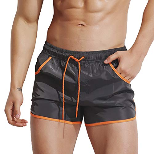 Dasuy Men's Summer Surfing Swimming Quick Dry Shorts Workout Running Training Athletic Loose Pants Beach Trousers (XXL, Gray)