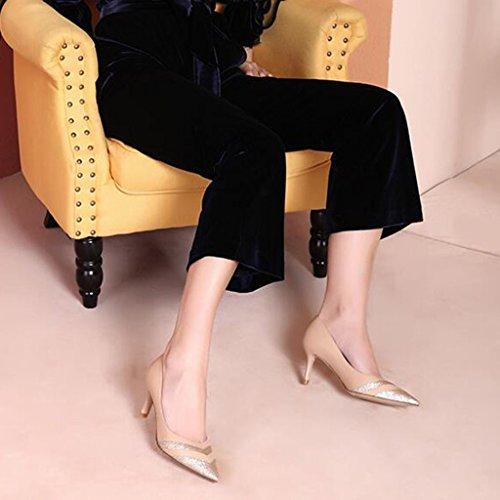 Col Bocca Muma Selvaggio Tacco Scarpe Scarpe Sottolineato Cuciture Temperamento Donna Da Alto Superficiale Moda Albicocca Scarpa w5wnqUBX