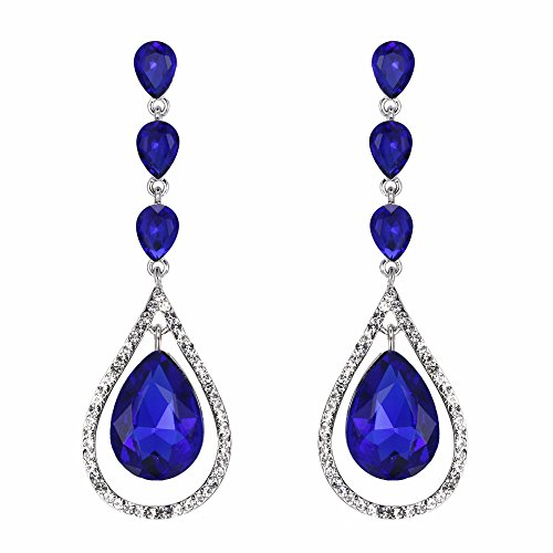 - EVER FAITH Austrian Crystal Bridal Hollow-out Teardrop Pierced Dangle Earrings Navy-blue Silver-Tone