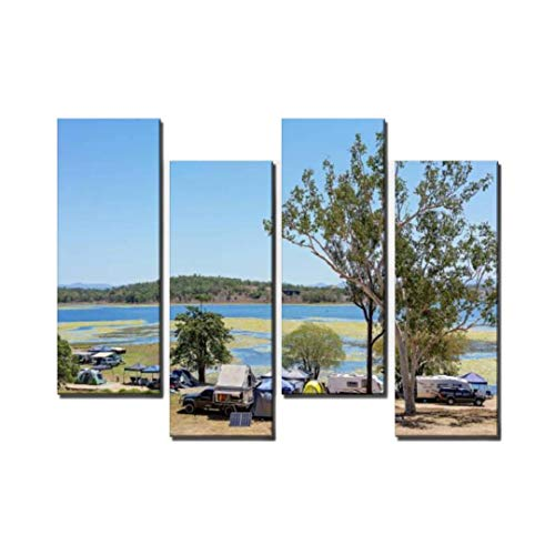 4 Panel Holiday Park by The Water Camping Tent by Lakes and Pictures Canvas Wall Art Ocean Oil Painting Animal Prints City Poster Flower Pictures Home Wall Decoration for Artwork (Best Canvas Tents Australia)