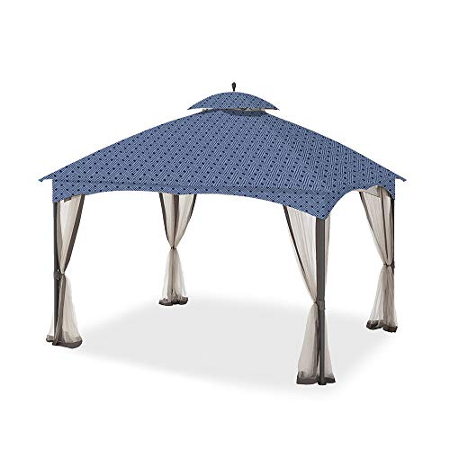 Garden Winds Replacement Canopy for The Massillon Biscayne Gazebo - Standard 350 - Midnight Trellis (Trellis Gazebo Replacement Canopy)
