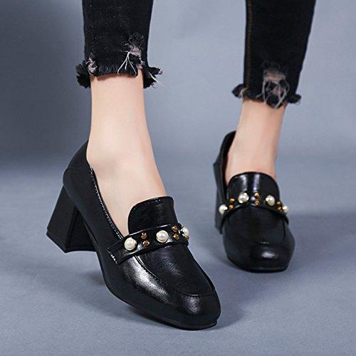 Zapatos De Pequeños Desgaste Femeninos Zapatos Los Solo De Tacón Zapatos Alto Zapatos Dos GAOLIM Negro Perla Negrita Trabajo Primavera Y x6Szz0