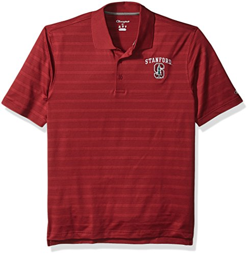 (NCAA Champion Men's Textured Solid Polo, Stanford Cardinal, Large)