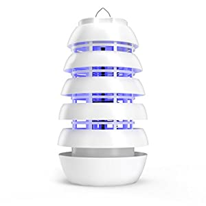 Electronic Insect Killer – Improved Indoor/Covered Patio Bug Zapper – Attracts Bugs, Mosquitoes and Other Pests with Safe, Long-Lasting UV LED Light and Titanium Dioxide (TiO2) Coating