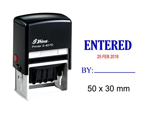 - Shiny Date Stamper Self Inking With Entered By Text Ofiice Stationery Rubber Stamp S-827D