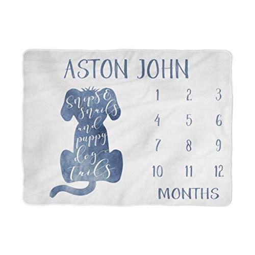 Manta de hito para bebé con recorte de crecimiento mensual, tijeras y caracoles y colas de cachorro, manta de forro polar,...