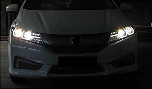GOWE Car Styling For Honda City 2014-2016 LED Headlight for City Head Lamp with double U LED DRL Double lens Bi-Xenon HID KIT Color Temperature:6000k;Wattage:35w 1