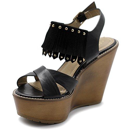 Womens Faded Vintage Sandal Heel Shoe Fringe Burnish Wedge Black Ollio wAUqgw