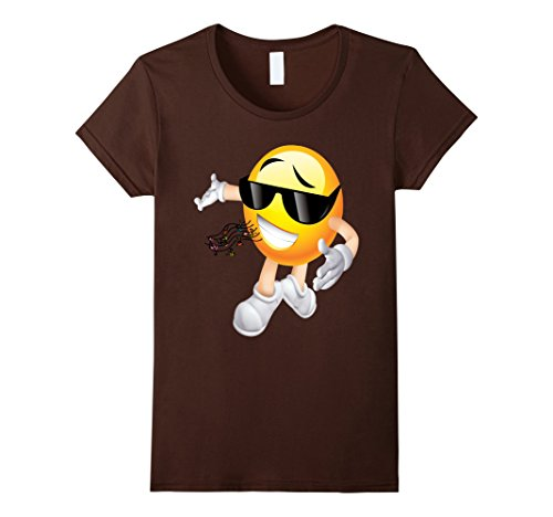 Womens MC DJ Emoticon T Shirt 3 Large Brown (Pitch Perfect Costume Ideas)