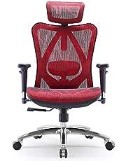 SIHOO Ergonomisk kontorsstol justerbart korsryggsstöd 3D armstöd hudvänlig nät skrivbordsstol hög rygg (svart)