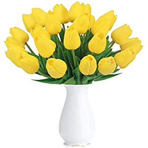 Bomarolan Artificial Tulip Fake Holland Mini Tulip Real Touch Flowers 24 Pcs for Wedding Decor DIY Home Party (Yellow) 19