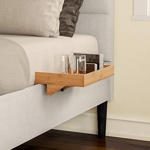 Lavish Home Bedside Shelf – Eco-Friendly Bamboo Modern Clamp-on Floating Nightstand and Bedroom Accessories Tray for Home, Dorm, RV or Apartment