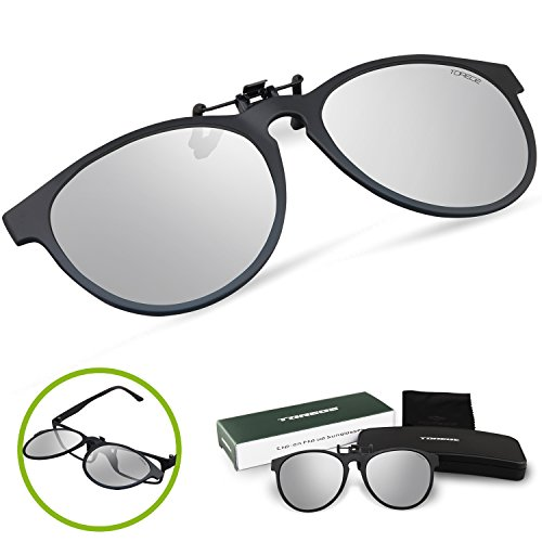 Torege Polarized Clip-on Flip up Rubber Clip Sunglasses Lenses With EMS-TR90 Frame For Driving Cycling Fishing T003