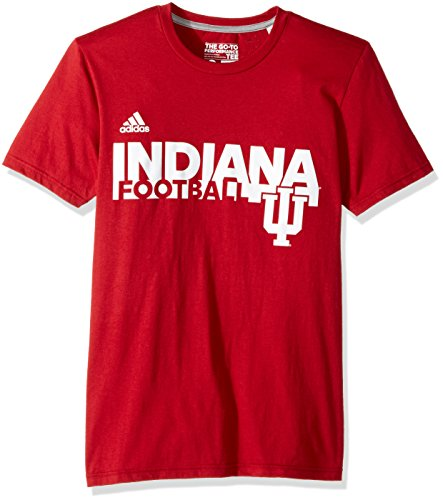 adidas NCAA Indiana Hoosiers Adult Men Sideline Grind Football Go-To Performance S/Tee, Medium, Victory Red (Hoosiers Fan Indiana)
