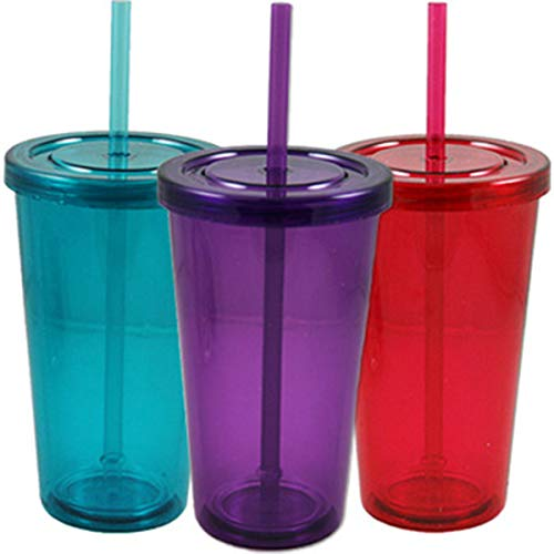 Double-Wall Translucent Plastic Tumblers 16 oz with Lids and Straws. Double-Wall Construction Helps to Keep Your Drinks Cool while Preventing the Buildup of Condensation on the Outer Surface (Green)